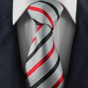 Grey & Red Striped Neckties / Formal Business Neckties