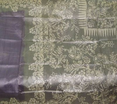 Vintage 100% Pure Silk Sari Floral Old Used Fabric Material BATIK Saree Shari