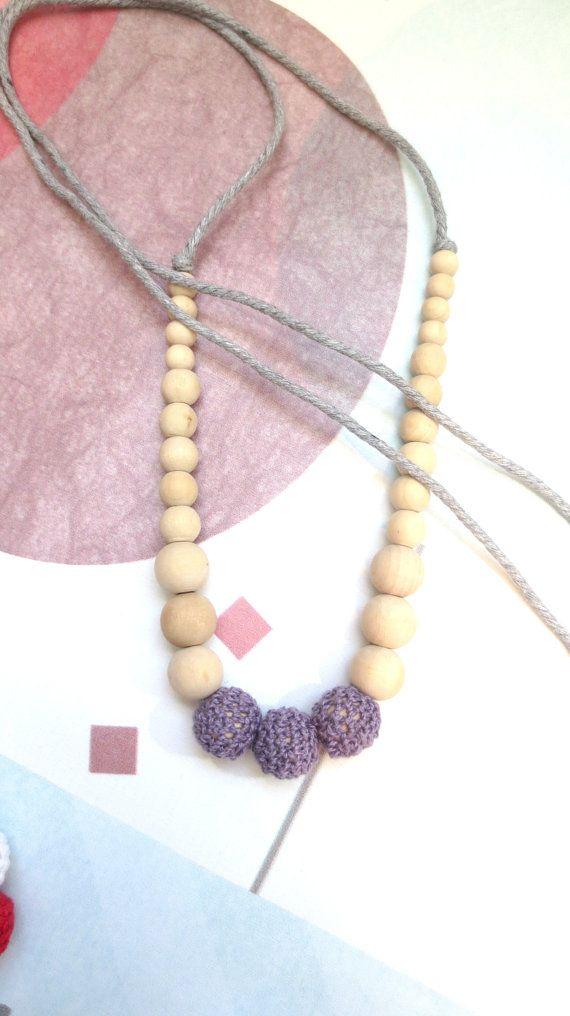 Crochet Nursing Necklace Wood Nursing Necklace
