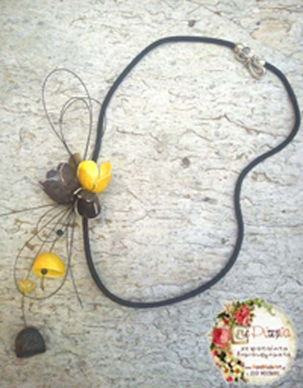 necklace with black and yellow silk cocoons