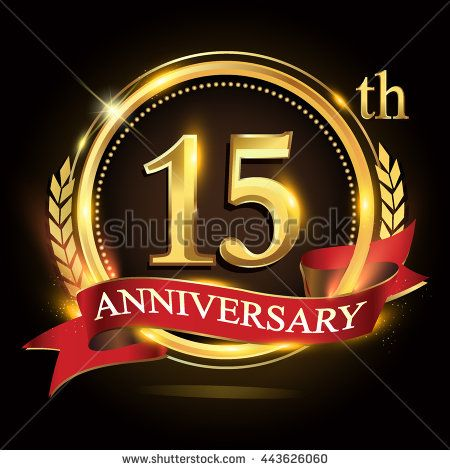 15th golden anniversary logo, 15 years anniversary celebration with ring and red ribbon, Golden anniversary laurel wreath design. - stock vector