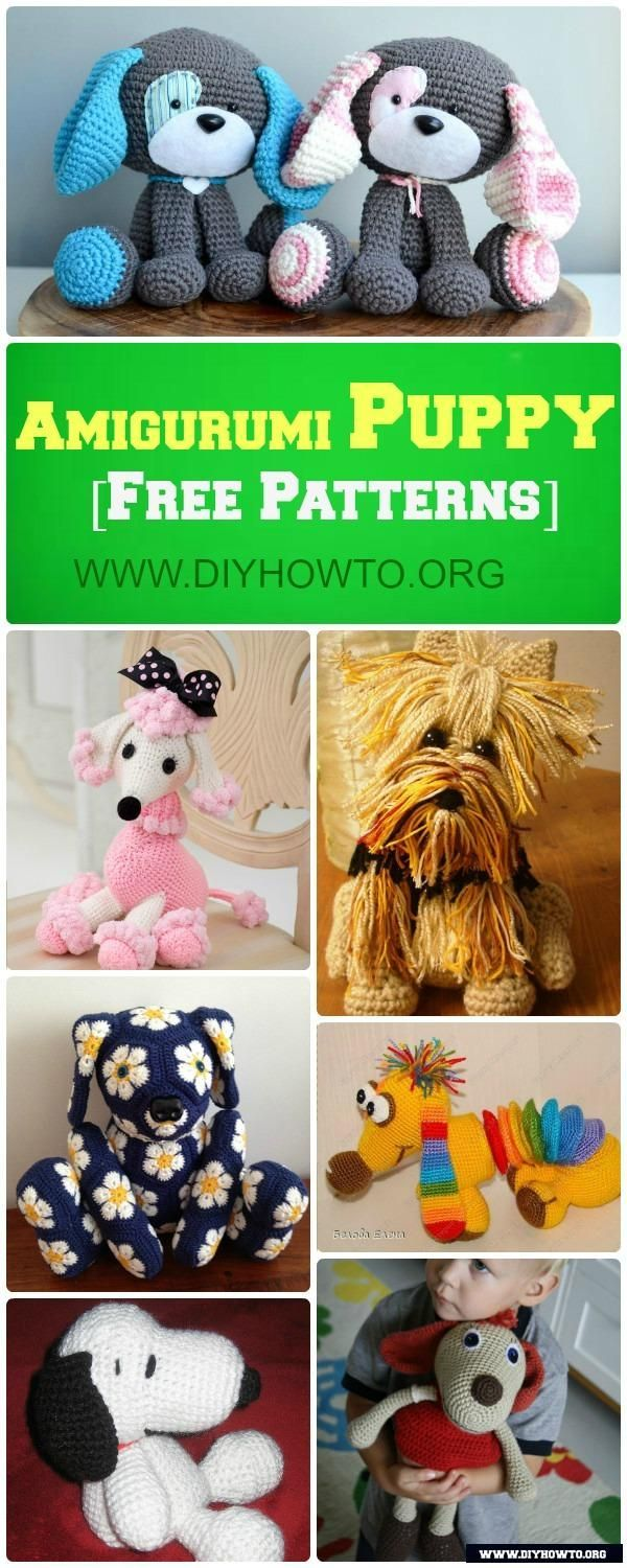 DIY Crochet Amigurumi Puppy Dog Stuffed Toy Free Patterns: Crochet Dog-Themed Animal Toys  via @diyhowto