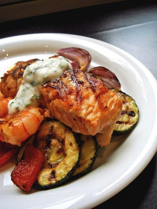 Grilled Salmon and Shrimp with vegetables