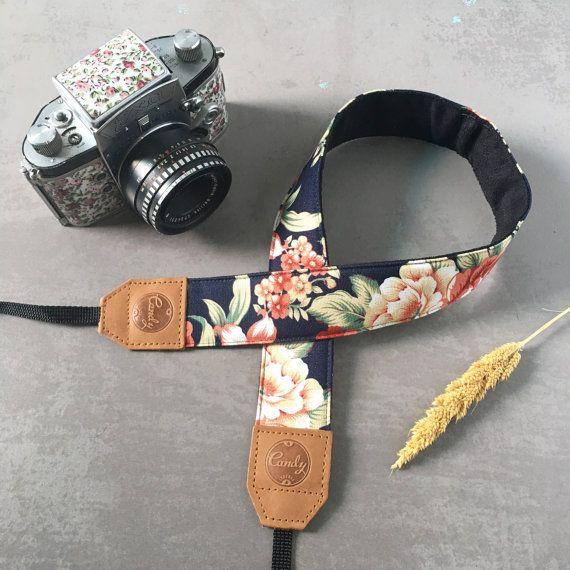 DSLR camerariem, Navy rode bloem camerariem, leder camera riem cadeau voor haar