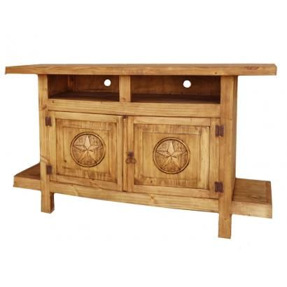 Place your TV on top of this rustic southwestern TV stand with stars.  The cubby holes provide plenty of space for your cable box, DVD player, and/or CD player.  There is additional storage space in the lower cabinets.  Hand made in Mexico by skilled craftsmen, you'll appreciate the sturdy solid pine construction and the attractive panel doors with carved stars.