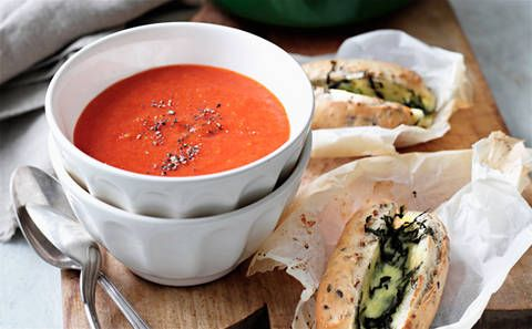 Roast Capsicum And Tomato Soup With Bocconcini And Basil