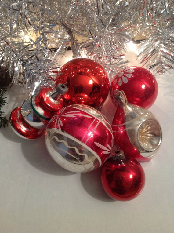 Vintage Christmas Ornaments Shiny