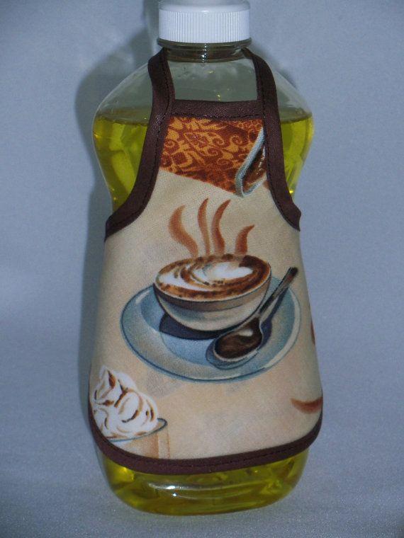 Coffee Kitchen Decor 12.6oz Dish Soap Bottle Apron Cover by beeluckylady on Etsy!