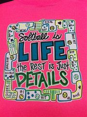 Southern Chics Funny Softball Life Rest Details Girlie Bright T Shirt   SimplyCuteTees