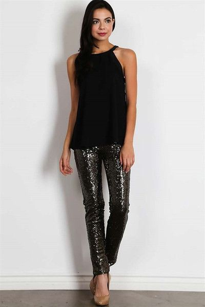 Center of Attention Sequin Legging Pants - Black - Forever Fab Boutique Black Sequin Pants Women's Clothing Holiday Fashion Winter Clothing Holiday Party Outfit New Year's Outfit #shop #fashion