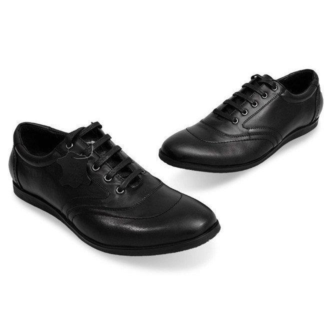 Sznurowane Polbuty Skorzane Lj39 Czarny Czarne Dress Shoes Men Oxford Shoes Dress Shoes