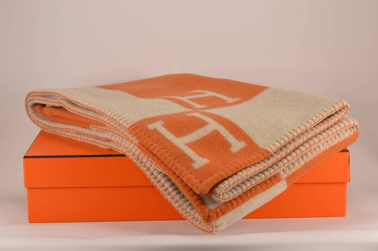 Hermes Avalon Blanket Couch Ecru Potiron | From a collection of rare vintage pillows and throws at https://www.1stdibs.com/fashion/ephemera/pillows-throws/