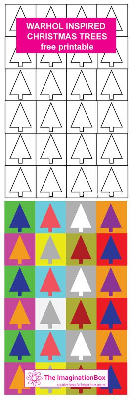 Xmas Trees - Warhol inspired free printable - make your own cards, tags, gift wrap whilst exploring colour and shape: