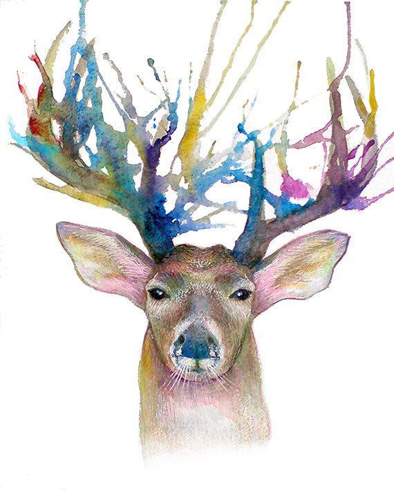 Small Original Watercolor Painting - Deer - 8x10