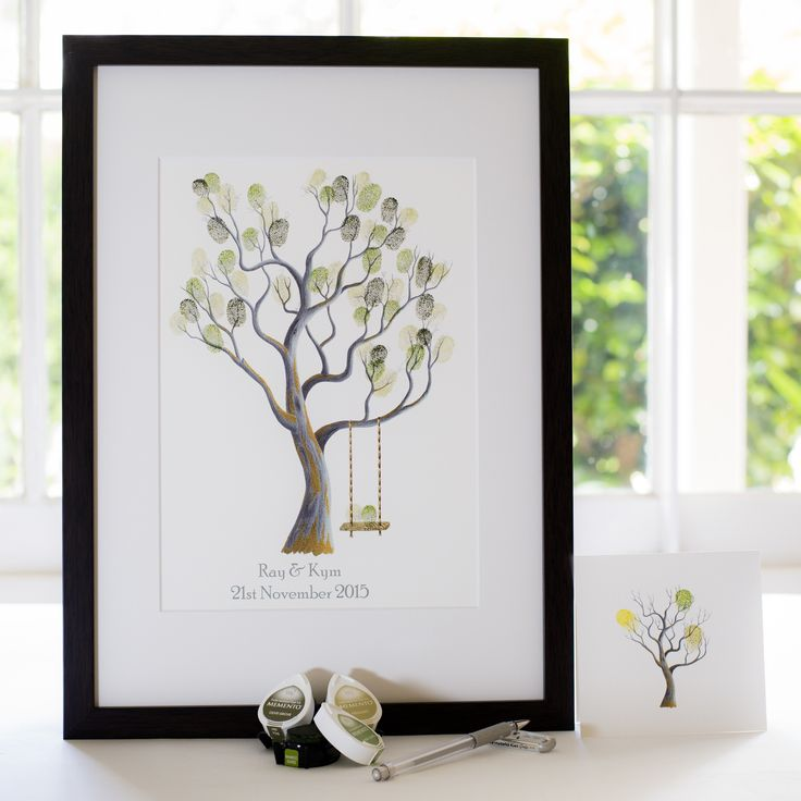 Walnut + swing guest book for Wedding, funeral or other celebration. Illustrated by Ray Carter - The Fingerprint Tree® Made-to-order, ships worldwide. The Fingerprint Tree®, bespoke gifts you'll treasure!