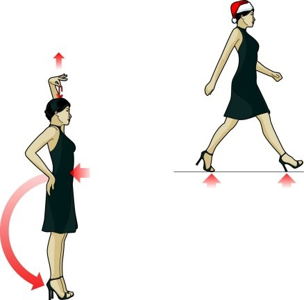 How to walk in heels:  1. Stand tall, as if pulled by a string from the top of your head.  2. Tighten abs by pulling belly button in toward spine, causing weight to shift back to your heels.  3. Walk heel to toe, not ball of foot.