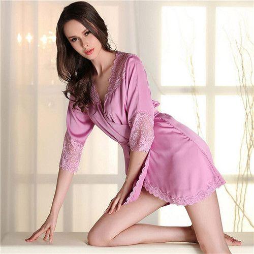 2017 Kobiety Druhna Szaty Szlafrok Miękkie Sexy Krótki Szlafrok Kimono Robe Domu Połowa Rękawem Różowe Jedwabne Szaty Ślubne
