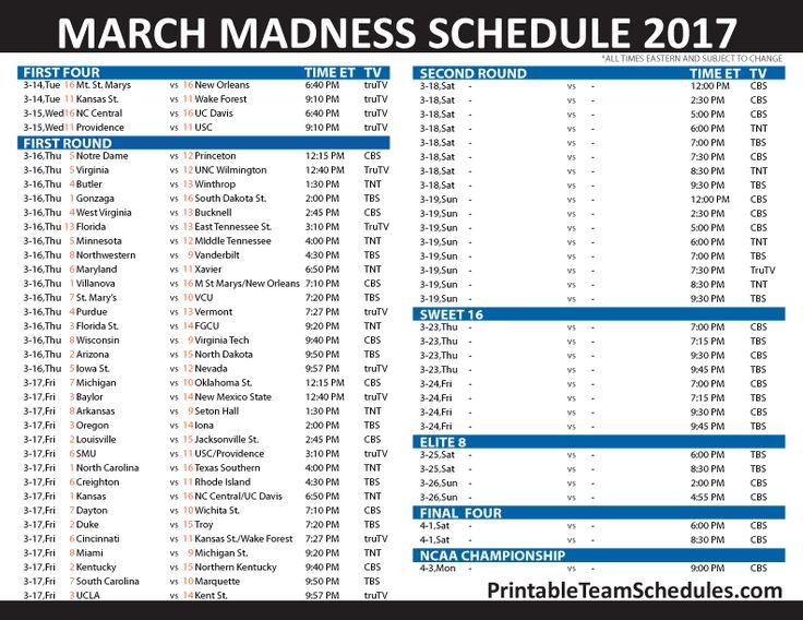 Printable 2017 NCAA Tournament TV Schedule NCAA March