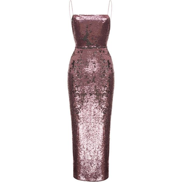 Rasario Camisole Sequin Gown (£1,430) ❤ liked on Polyvore featuring dresses, gowns, pink, red dress, pink evening dress, sequin camis, red evening dresses and pink ball gown