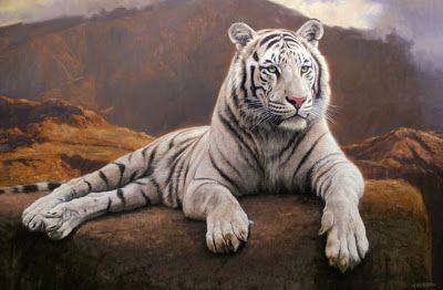 Cuadros Modernos Pinturas : Tigre blanco en paisaje