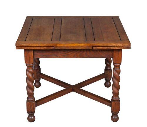 Antique Oak English Pub Table Draw Leaf Barley Twist Game Table