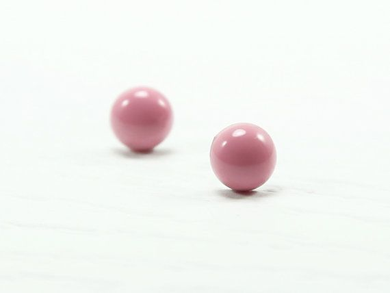 Rose Pink Stud Earrings 8mm  Rose Pink Earrings  Rose by biesge, $13.90