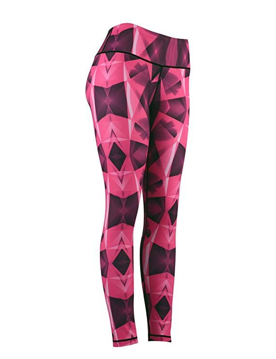 90a22a95dce DOVPOD Commpression Workout High Waist Yoga Pants with Pockets Printed  Leggings Power Flex Fitness Capris for Women