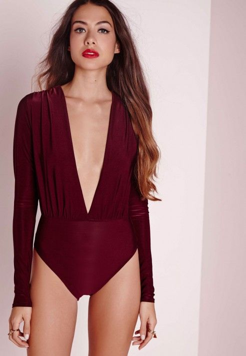 Slinky Deep Plunge Bodysuit Burgundy -Slinky - Bodysuits - Tops - Missguided