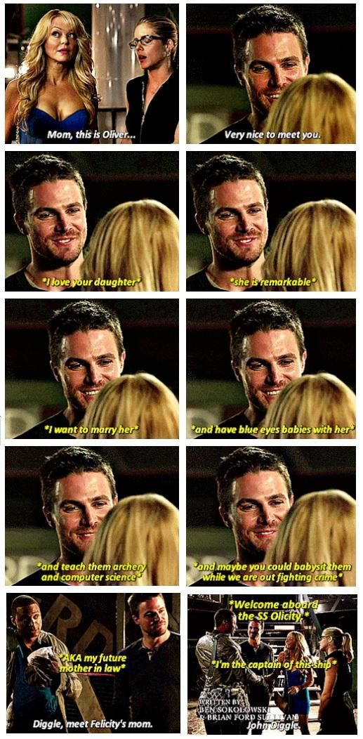 hahaha literally his joy in meeting Felicity's mom was everything (you can just SEE it in his eyes) :D #Olicity