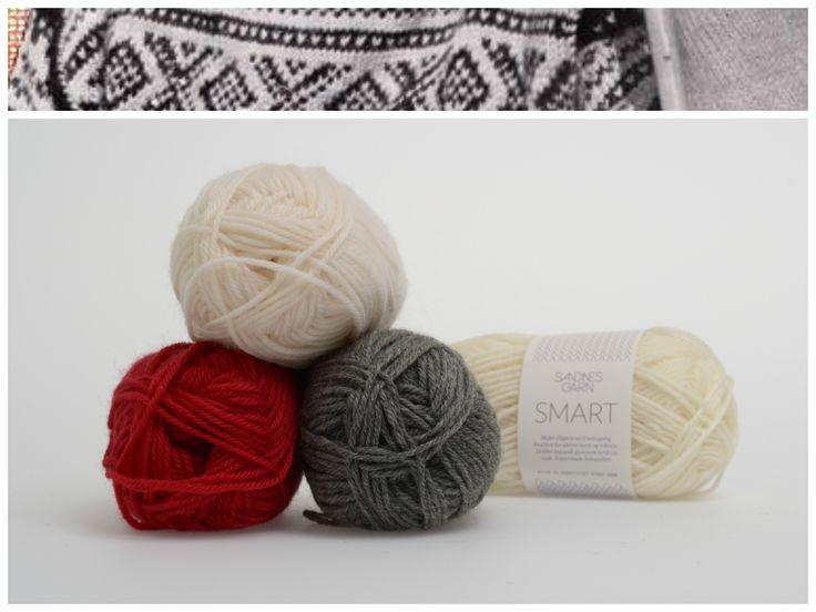 Marius med hvit mønster i garnet Smart  1002, 1053, 4219 #farger #fargekombinasjoner #garn #inspirasjon #marius