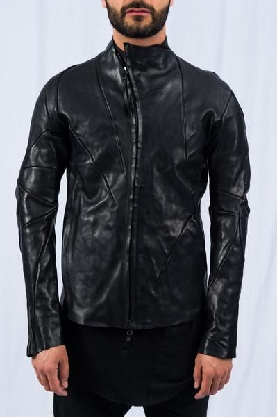 LEON EMANUEL BLANCK - Black Distortion Leather Aviator Jacket