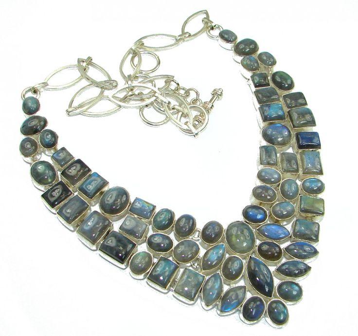 Flashy Blue Labradorite Gemstone Silver Necklace Best Wholesale Shop India