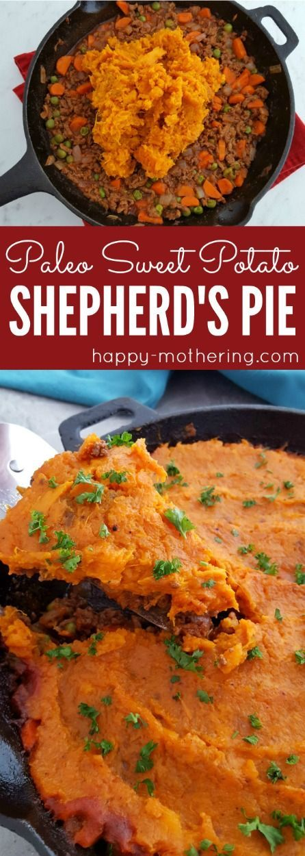 Are you looking for the best healthy Sweet Potato Shepherd's Pie recipe made with grassfed beef? Ours is super easy to make in a cast iron skillet and it's paleo too! #paleo #shepherdspie #sweetpotatoes #castiron #skilletmeals via @happymothering