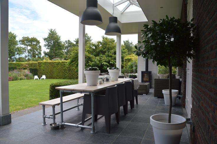 Veranda Lampen Hektar Ikea Tafel en bank steigerbuisonline.nl Planken van houthandel Parren, Thorn