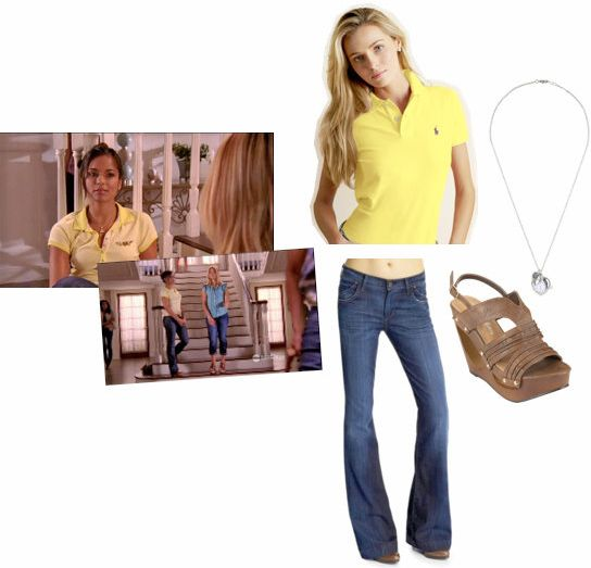 Rebecca Logan from Greek outfit - Wide-leg flare jeans, yellow polo shirt, and wedges