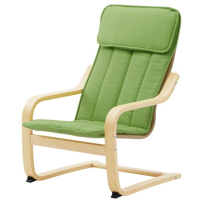 POÄNG Children's armchair birch veneer, Almås green