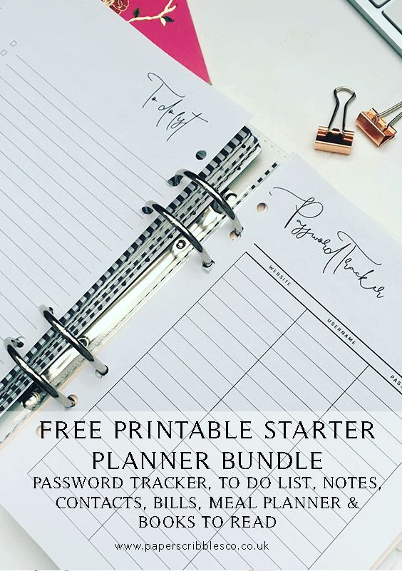 Free Planner Inserts | Free Planner Printables | Planner Printables | Free Printables | Free To Do Lists | Family Organization | Free Password Tracker | Planner Organization | Free Contacts Page | Free Notes Inserts | Free Meal Planner | Free Books To Rea