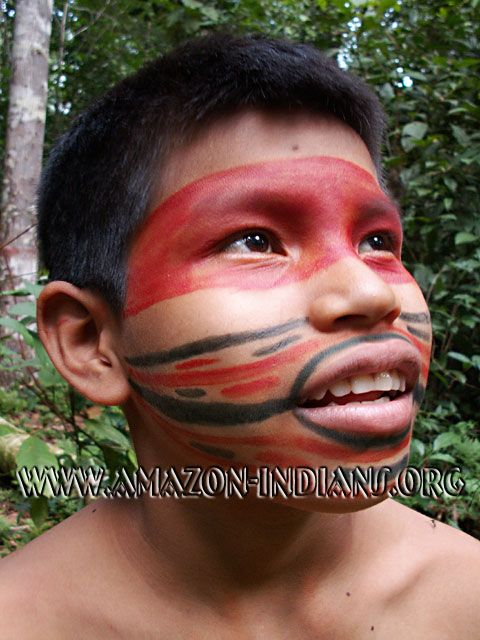 Amazon indians face painting homeschool geo brazil for Do airbrush tattoos come off in water