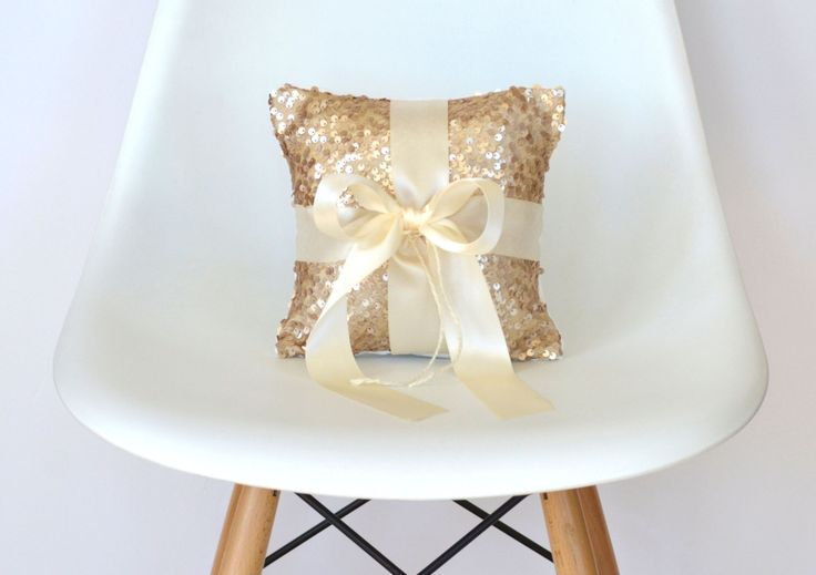 Wedding Ring Bearer Pillow - Champagne Sequin and Ivory Satin Bow by TwentyEight12 on Etsy https://www.etsy.com/listing/202798638/wedding-ring-bearer-pillow-champagne