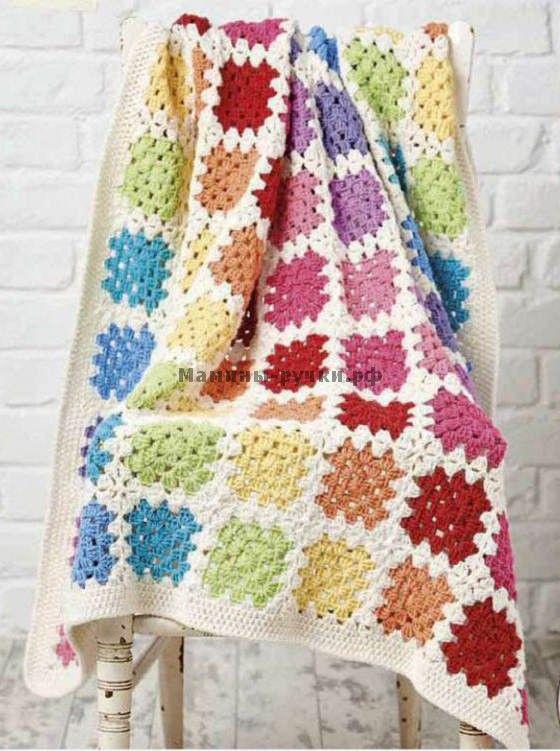 "Вязаный крючком детский плед ""Радуга"" (baby blanket crochet)"