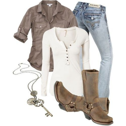 casual outfit with boots and jeans