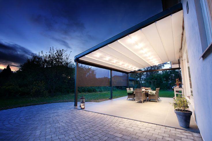Projecten pergola s met bedienbaar dak serre palmiye glass patio rooms pinterest - Pergola met intrekbaar canvas ...