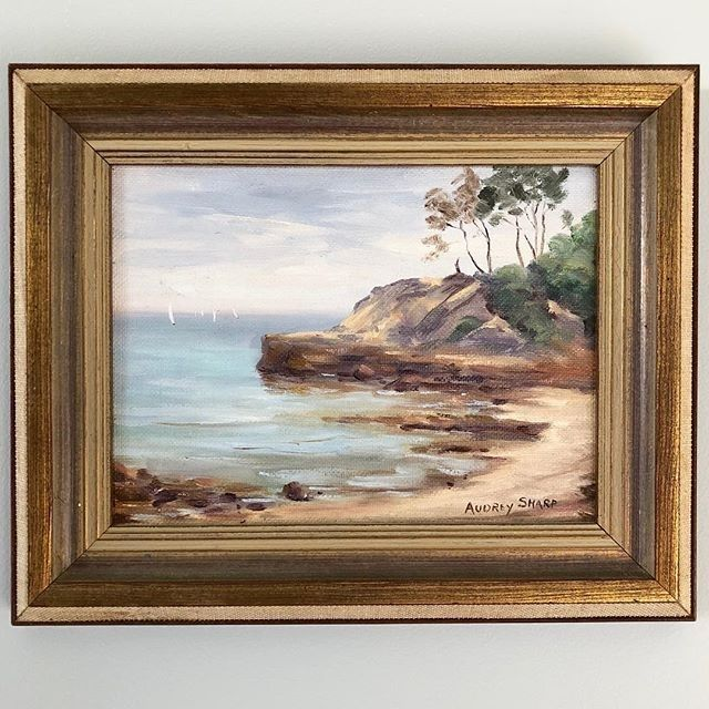 """- Table Rock - $135  A Vintage Australian Beachscape painting; oil on board titled 'Table Rock"""" (Beaumaris Victoria). In its original wooden frame and signed by the artist lower right Audrey Sharp.  26cm wide 21.5cm high.  To BUY this piece HIT THE LINK IN THE BIO  #Seascapes   #artonline #artshop #artsource #Australian #australianart #Australianartist #beachlife #beachscape #coastaldecor #coastalstyle #gallerywall #nauticalart #oilpainting #vintageartemporium #vintagepainting…"""