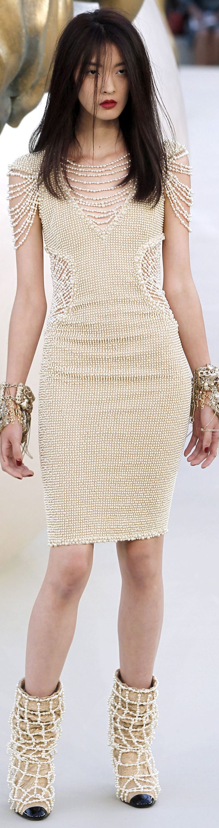 Chanel ~ Couture Pearl Embellished Nude Dress 2010