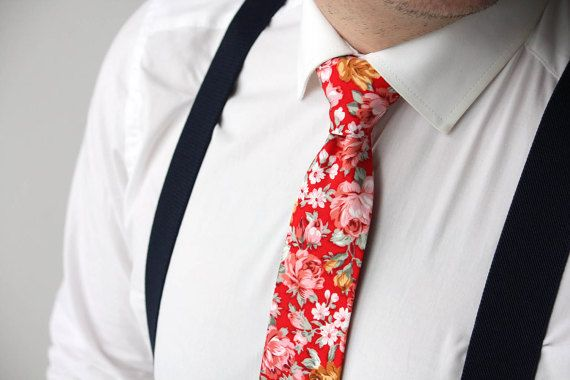 Red pink Fiesta Red mens Tie Men's skinny tie Wedd…Edit description
