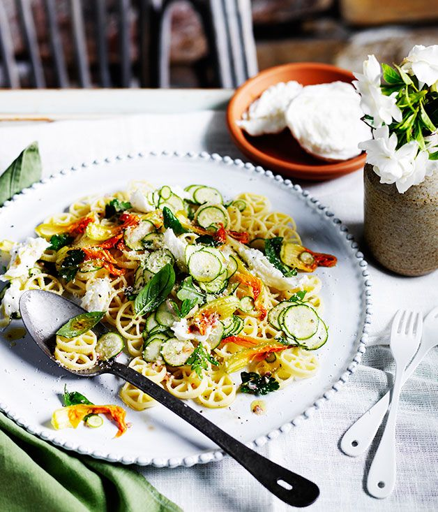 Australian Gourmet Traveller recipe for zucchini-flower pasta freddo with buffalo mozzarella.