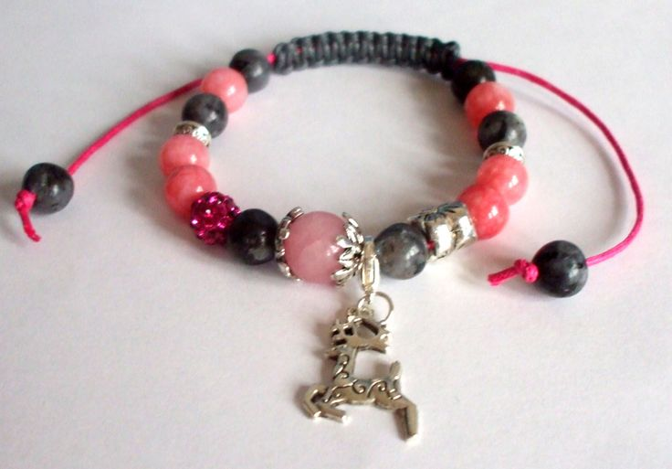 Rhodochrosite Turmalin and Rose quartz gemstone beads bracelet Winter jewel Shamballa Gift for her Christmas jewel Handmade Reindeer charm by dorijewelnook on Etsy