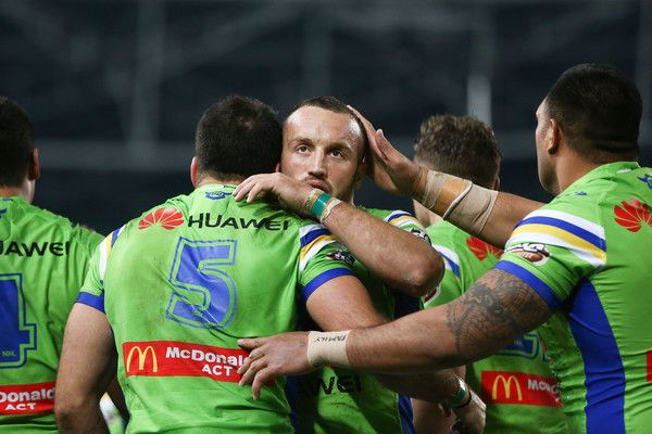 Michael Oldfield of the Raiders celebrates with team mates after scoring a try during the round 21 NRL match between the South Sydney Rabbitohs and the Canberra Raiders at ANZ Stadium on July 29, 2017 in Sydney, Australia.