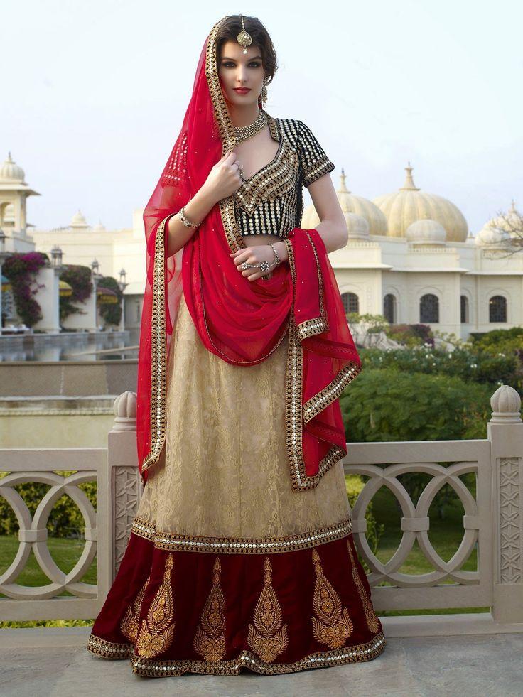 Unique Beige & Maroon Lehenga Choli - AISE0711019CN   Indian Trendz