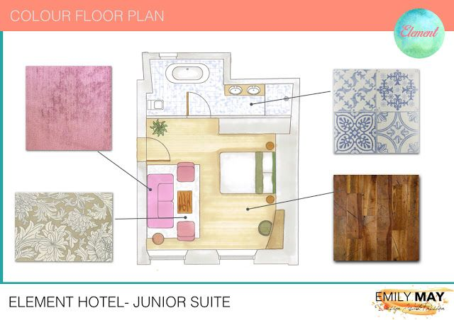 hotel suite colour floor plan